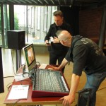 rene vervoorn and thomas bank setting up the mobile studio