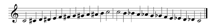 ascending and descending chromatic scale