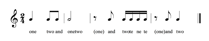 simple rhythm in 2/4 with possible vocalizations