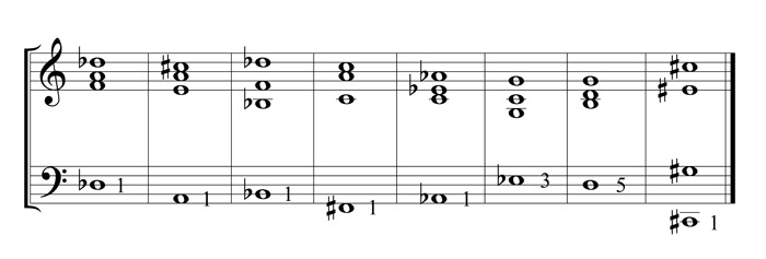 example 32 - four voice chord positions